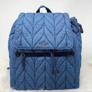 Kate spade denim blue Ellie large flap backpack